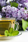 Herbal tea. Cup of fresh herbal tea with lilac in the background Stock Images