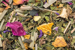 Herbal Tea. Macro Photo Of Herbal Tea. Composition: Mint, lemongrass, orange, sweet wood root, rose petals stock photography