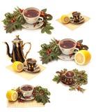 Herbal tea. Set - herbal tea. Objects over white stock photo