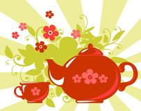 Herbal tea. Stylized tea cup and teapot with  flowers on a striped background Stock Image
