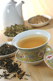 Herbal Tea. Chinese traditional herbal tea and herbs Royalty Free Stock Images