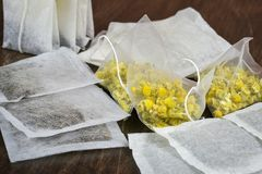 Herbal tea bags Royalty Free Stock Photos