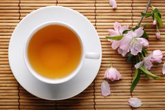 Herbal tea on bamboo straws Royalty Free Stock Images