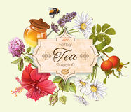 Herbal tea banner. Herbal tea vintage banner with honey, rose hip and hibiscus flower.Design for tea, honey, herbal cosmetics, store, grocery, health care Royalty Free Stock Image