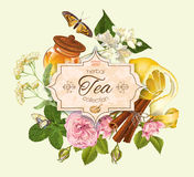 Herbal tea banner Stock Images