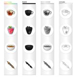 Herbal tea, berry jelly, vegetable soup, vegetarian shish kebab. Different vegetarian dishes set collection icons in. Cartoon black monochrome outline style Royalty Free Stock Image