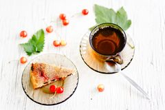 Herbal tea and biscuit cake Royalty Free Stock Image