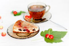 Herbal tea and biscuit cake Royalty Free Stock Photos