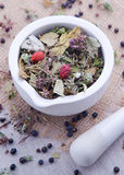 Herbal tea with blackberry in the white mortar. Herbal tea with blackberry, dry mint leaves and briar in the white mortar and with pestle Royalty Free Stock Images