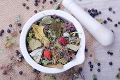 Herbal tea with blackberry in the white mortar Stock Photos