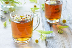Herbal tea with camomile and linden Royalty Free Stock Photo