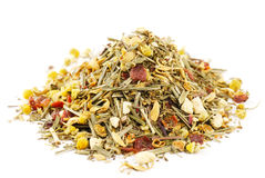 Herbal tea chamomile lemongrass and hibiscus Royalty Free Stock Images