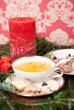 Herbal Tea with Christmas Cookies Royalty Free Stock Photos