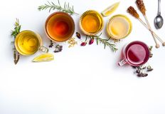 Herbal tea collection glasses on white background. Herbal tea collection prepared in glasses on white background royalty free stock image