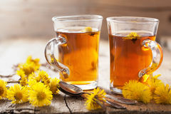 Herbal tea with coltsfoot flowers Royalty Free Stock Photos