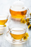 Herbal tea with coltsfoot flowers Royalty Free Stock Images