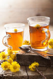 Herbal tea with coltsfoot flowers Royalty Free Stock Photo