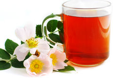 Herbal tea in cup of glass Royalty Free Stock Images