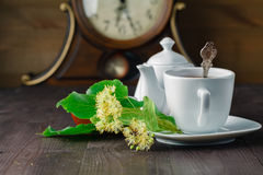 Herbal tea cup with Linden blossom royalty free stock photos