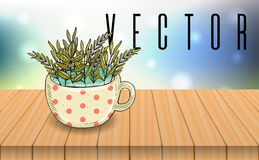 Herbal tea cup on wooden table, bokeh background. Vector illustration Royalty Free Stock Images