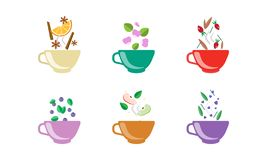 Herbal tea cups set, tea with orange, blueberry, apple, cinnamon, rosehip, anise vector Illustration on a white. Herbal tea cups set, tea with orange, blueberry royalty free illustration