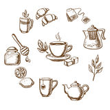 Herbal tea, dessert and bakery sketch icons. With cup of hot tea on saucer, mint leaves, sugars, lemon and croissant surrounded teapots and cups, honey jar with Stock Image