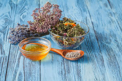 Herbal tea with different ingredients, mountain tea Royalty Free Stock Photos