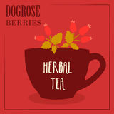 Herbal tea with dogrose berries. The design of the label. Royalty Free Stock Image