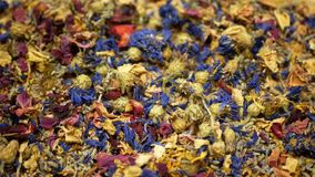 Herbal tea dried blend mixture of rose, cornflower, hibiscus, thyme leaf petals and mother-of-tea for high-quality teas