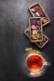Herbal tea, dried herbs and flowers stock image