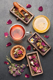 Herbal tea, dried herbs and flowers royalty free stock photo