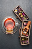 Herbal tea and dried herbs and flowers. top view stock photos