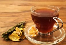 Herbal tea and dried plants Royalty Free Stock Images