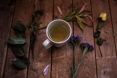 Herbal tea with dried plants on a wood background. Herbal tea with dried plants and flowers on a wood background Stock Images