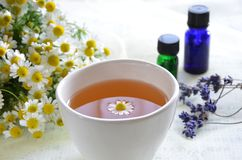 Herbal tea with essential oils Royalty Free Stock Photo