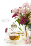 Herbal tea and flowers Stock Image