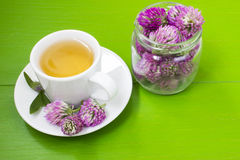 Herbal tea with flowers of clover Stock Photo