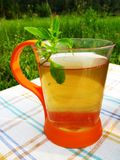 Herbal tea with fresh mint outdoors Stock Photo