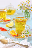 Herbal tea with fruit candy Royalty Free Stock Photography