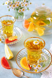 Herbal tea with fruit jelly Stock Photo