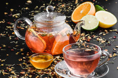 Herbal tea with fruits and honey Royalty Free Stock Photo