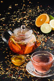 Herbal tea with fruits and honey Royalty Free Stock Images