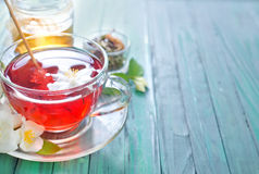 Herbal tea. In glass cup Royalty Free Stock Photos