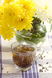 Herbal tea in glass cup and flowers Royalty Free Stock Image