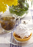 Herbal tea in glass cup and flowers Royalty Free Stock Photo