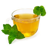 Herbal tea in glass cup with mint. Herbal tea in a glass cup with two sprigs of mint with a light shade on white background Royalty Free Stock Image