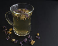 Herbal tea. Glass Cup Tea with mulberry Royalty Free Stock Photos