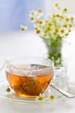 Herbal tea in glass cup. Glass teacup with soothing herbal tea in silk bag Stock Photography