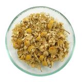 Herbal tea, heap of camomile flowers. Royalty Free Stock Image