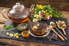 Herbal tea with honey. Cup of herbal tea with honey Stock Images